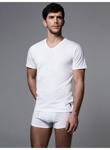 U.S. Polo Assn. Süprem V Yaka T-Shirt Beyaz